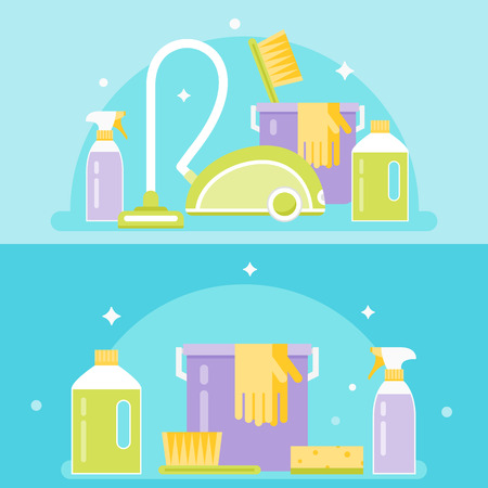 agents: Household Cleaning Agents, Tools and Devices. Cleaning Service Vector Illustration Illustration