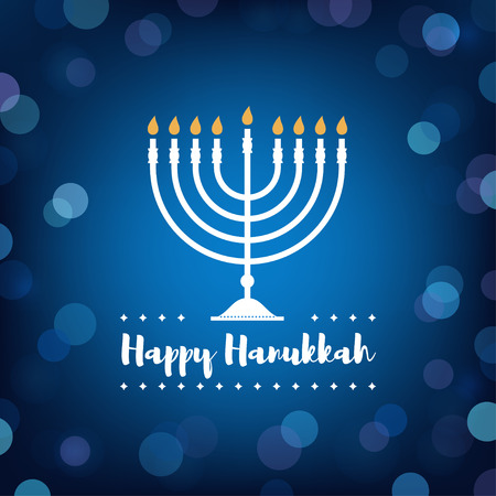 Hanukkah Candles on Bokeh Background.