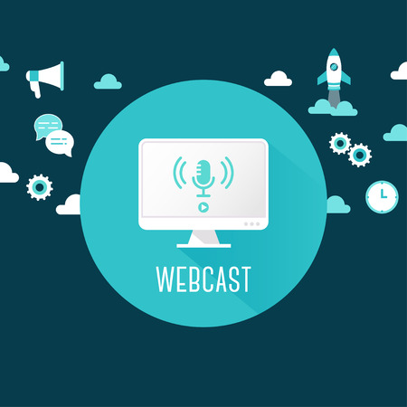 Webcast of Live Stream Illustratie. Computer met microfoon Icon Omringd door Technologie en Communicatie Pictogrammen Stock Illustratie