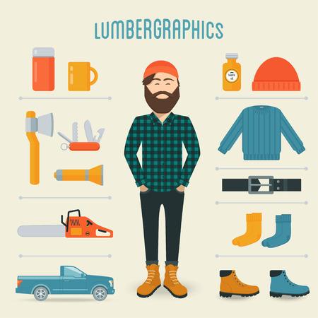 lumberman: Lumberman Fashion Trend Infographics Elements