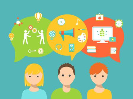 coiffer: Les étudiants et les Speech Bubbles et icônes scolaires Représenter styles d'apprentissage et les besoins éducatifs et Préférences Illustration