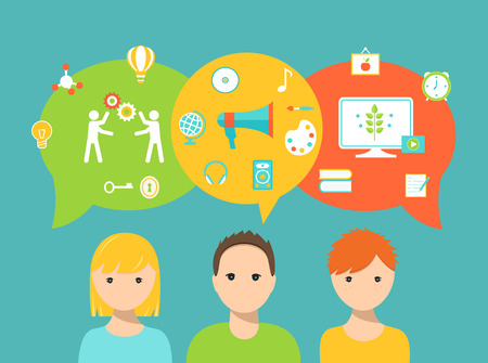 Los estudiantes y las burbujas del discurso y los iconos de la escuela Representación de estilos de aprendizaje y necesidades educativas y Preferencias Ilustración de vector