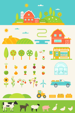 pick up: Agriculture and Farming Infographics Elements Set Illustration