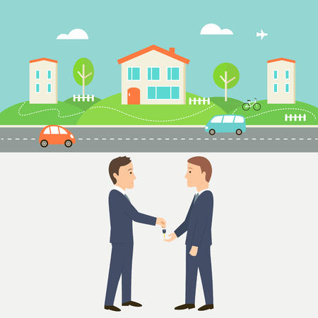 agent: Town Street with Houses, Cars and Road. Real Estate Agent Giving a Key. Shared Economy and Collaborative Consumption Illustration.