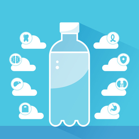body of water: Water Health Benefits Infographics Template. A bottle of water is surrounded by clouds and icons representing benefits of water consumption for human body.