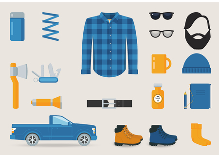 belt up: Lumber Jack Style Clothing, Tools and Accessories Vector Set Illustration