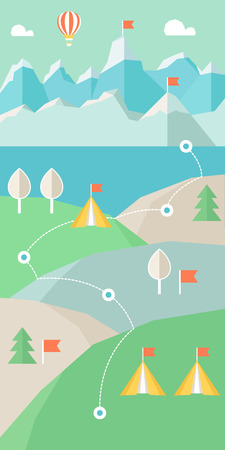 escape route: Landscape Infographics. Mountains, Lake and Hills Hiking Route Vector Layout