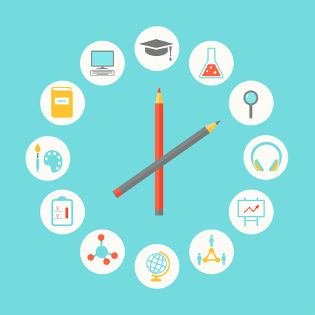Bildung Icons Infografik Wohnung Entwurf. Bildung, Curriculum-Konzept