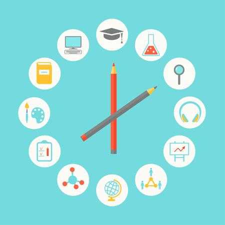 study: Educación Iconos Infografía Diseño plana. Educación, el concepto Curriculum Vectores