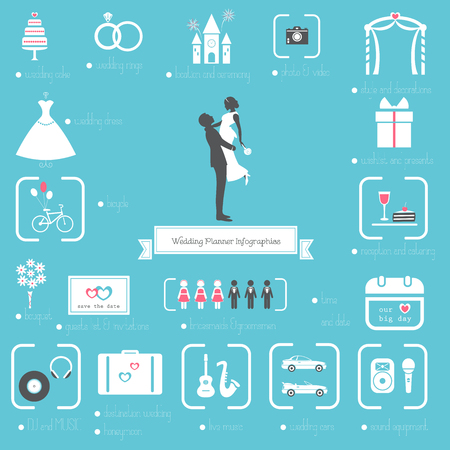 Wedding Planner Pictogrammen en Infographics Stock Illustratie