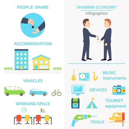 Het delen van Economie en Collaborative Verbruik Infographics Set
