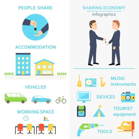 minivan: Sharing Economy and Collaborative Consumption Infographics Set Illustration