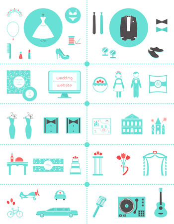 Wedding Planning Icons and Infographic Elements Set Illustration