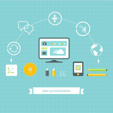 data synchronization: Data Storage and Synchronization Flat Design Elements Illustration