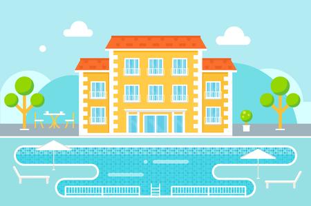 superficie: Edificio del hotel con el fondo del área de la piscina Resort contra la naturaleza
