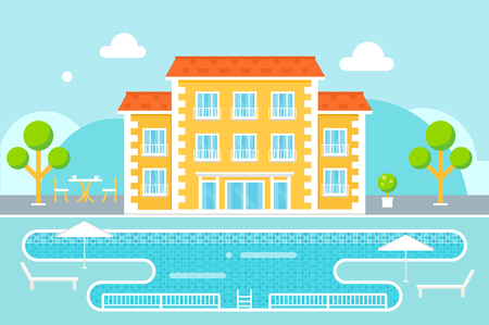 hotel pool: Hotel Building with Swimming Pool Resort Area Against Nature Background