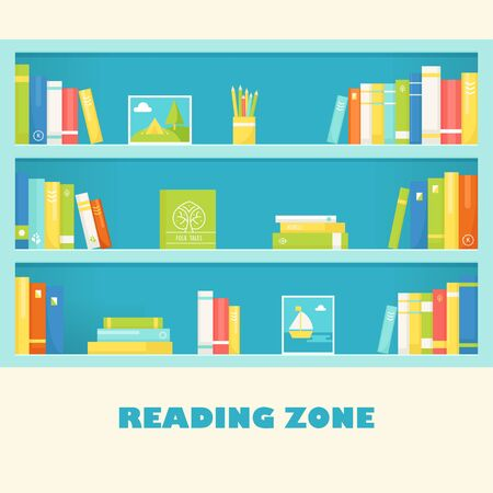 bookcase: Bookcase Shelves with Books and Pictures. Reading Zone Sign Illustration