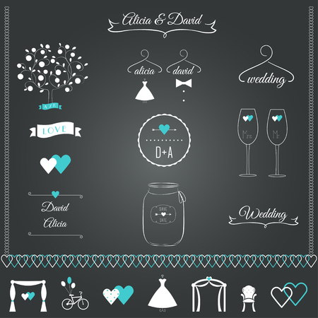señora: El casarse inmóvil Elementos de diseño Vectores