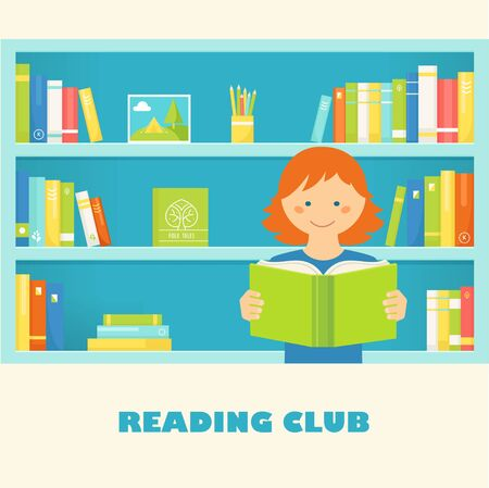 kids club: Girl Reading a Book against Library Bookshelves with Book