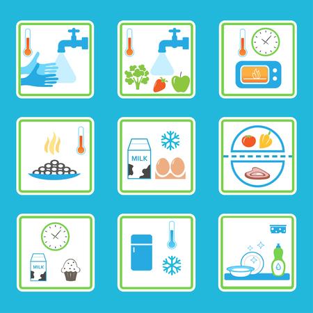 Reglas de Seguridad en los alimentos infografía. Habitos de comer saludable Ilustración de vector