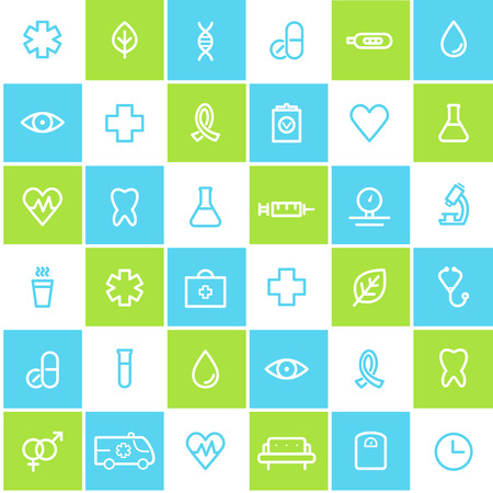 lined: Medical and Healthcare Seamless Lined Icons Background