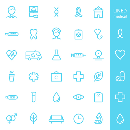 lined: Health Care and Medical Lined Icons Set Illustration