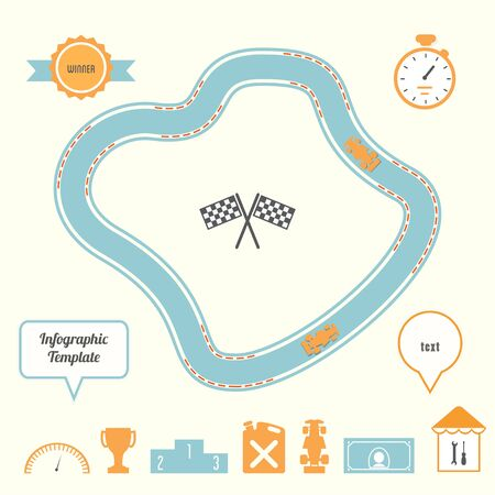 racing track: Racing Track and Cars Infographic Template. Competition and Planning Concept