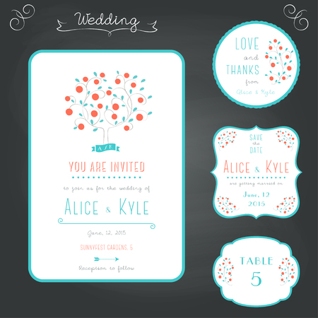 apples and oranges: Wedding Stationary Typography Style Set in Turquoise and Coral