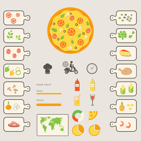 onion rings: Pizza Infographics Elements and Icons