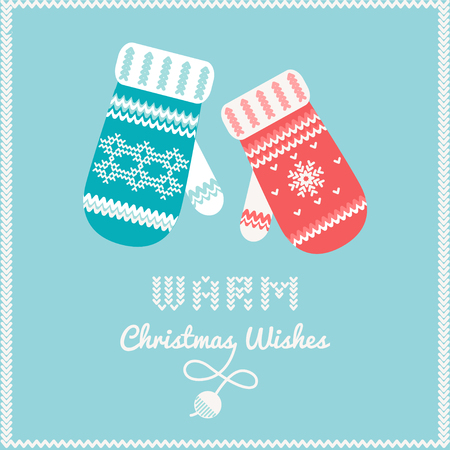 warm clothes: Warm Woolen Mittens with Knitted Ornament and Warm Christmas Wishes Sign Illustration