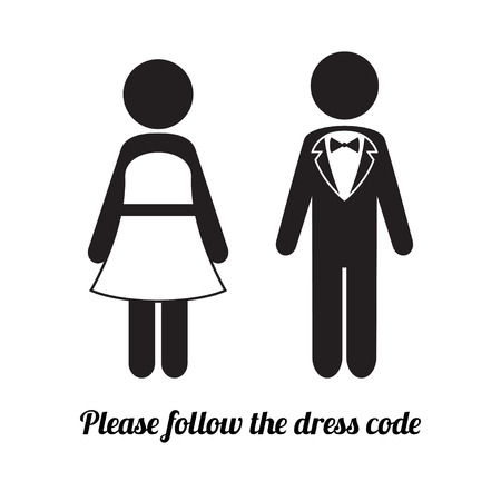 wedding dress: Man and Woman Icons. Black Tie Dress Code Icon