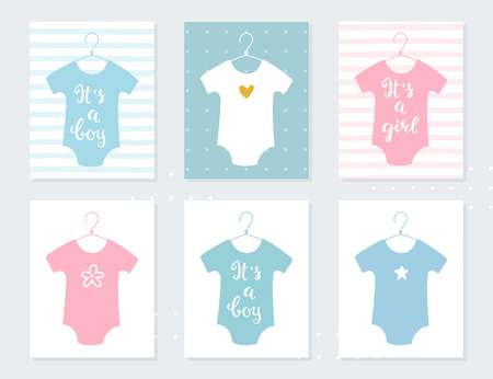 Babies Bodysuits Clothes on Hangers. Baby Announcement Vector Cards. Its a Boy. Its a Girl. Hand Lettering Signs Illustration
