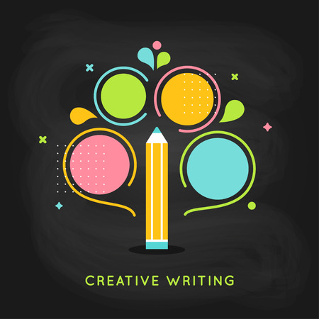 the writing: Creative Writing Plan Info graphics Template on Chalkboard Background Illustration