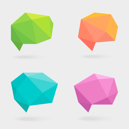 Polygonal Speech Bubbles or Talk Balloons with Shadows. Crystal Glass Flat Design Signs