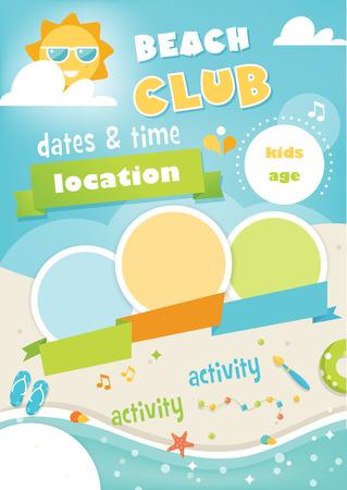 campamento: Beach Club o campamento para niños. Plantilla del cartel de verano y playa