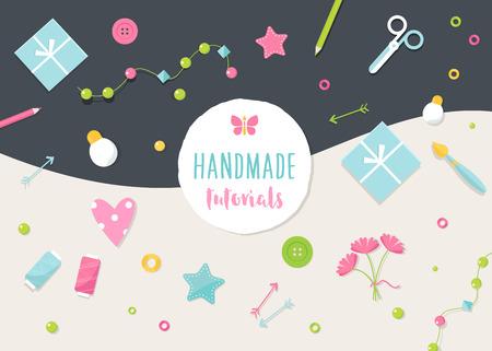 Esercitazioni a mano e Workshop banner. Arti, mestieri e strumenti di illustrazione piatto.