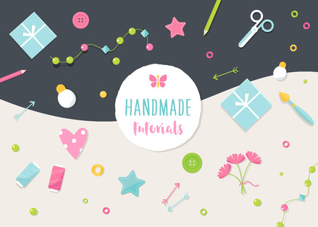 arts and crafts: Handmade Tutorials and Workshops Banner. Arts, Crafts and Tools Flat Illustration.