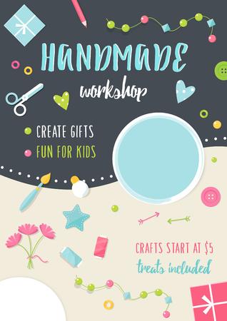 Handgemachte Tutorials und Workshops Banner. Kunst, Handwerk und Werkzeuge Flach Illustration. Vektorgrafik