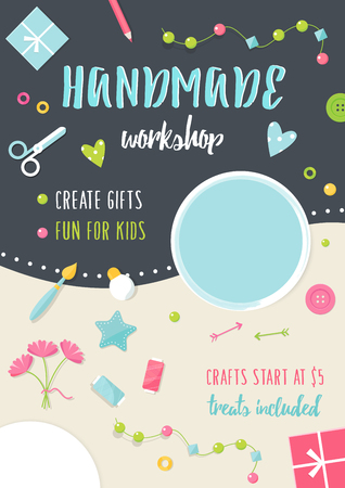 sew: Handmade Tutorials and Workshops Banner. Arts, Crafts and Tools Flat Illustration.