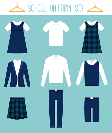 School Uniforms for Children. Kids Clothes Flat Vector Set