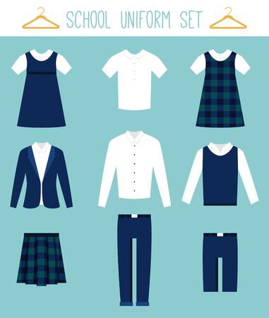 Uniformes escolares para crianças. Conjunto de vetores plana de roupas de crianças Ilustración de vector