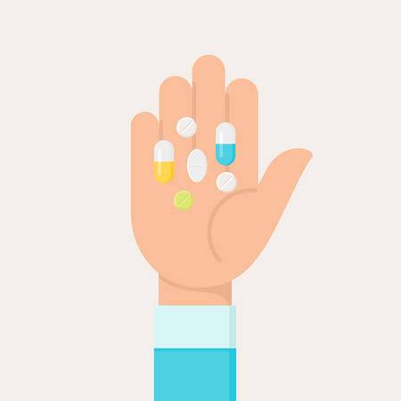 Hand Palm with Colourful Medicine Pills. Flat Vector Illustration 向量圖像