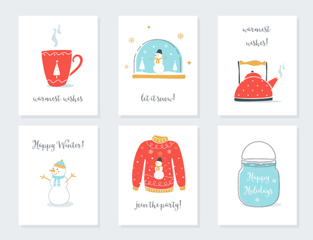 warmest: Christmas, New Year and Winter Holidays Cards with Vintage Sentimental Objects. Tea Mug, Snow Globe, Kettle, Sweater, Mason Jar Vector Illustrations. Illustration