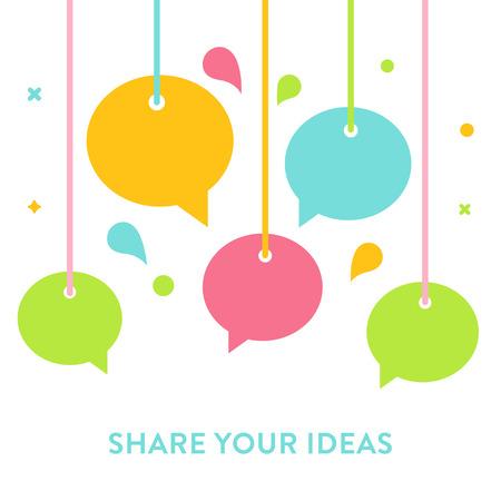 socializando: Las burbujas del discurso o suspendidas de cuerdas. Comunicación, Distribución de ideas, hablar y Concepto socialización. Ilustración del vector