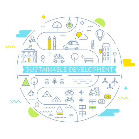 Sustainable Development and Sustainable Living Implementation Concept Line Art  Flat Illustration