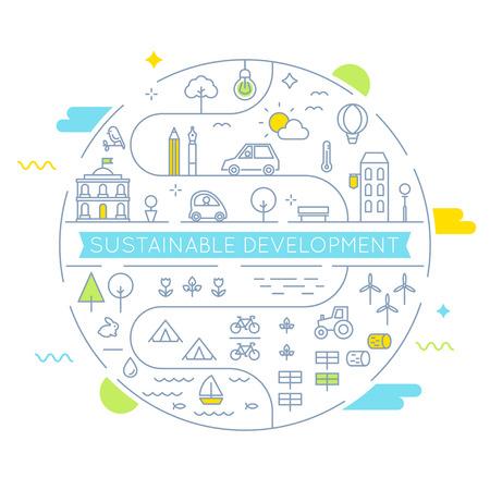 Sviluppo sostenibile e Living implementazione sostenibile concetto di linea Art Flat Illustrazione Vettoriali