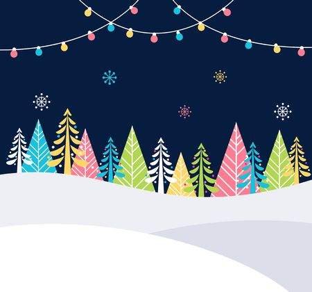 bright christmas tree: Christmas and Winter Holidays Events Festive Background with Snow, Trees and Christmas Lights.  Poster Flat Template