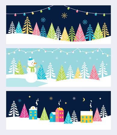 christmas trees: Christmas and Winter Holidays Events Festive Backgrounds, Banners or Headers with Landscape, Snowman, Trees and Christmas Lights.