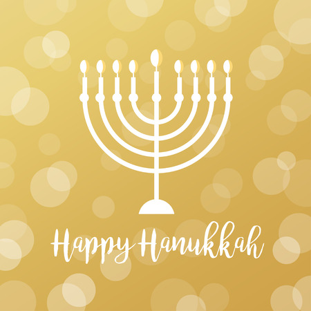 holiday tradition: Menorah Candles on Golden Bokeh Background. Happy Hanukkah Sign Illustration