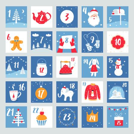 Christmas Advent Calendar. Countdown Poster. Winter Holidays Vector Design Elements Illustration